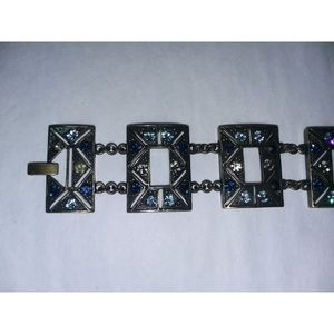 Deco Inspired Blue Stone Patinaed Boho Bracelet